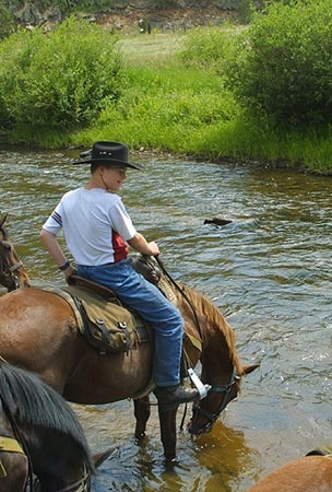 Taking a water break during a horseback riding vacation at Tarryall River Ranch