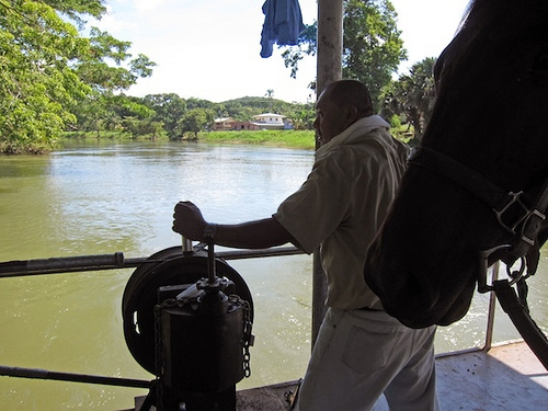 Horses and ferry's on a horseback riding vacation in Belize with Hanna Stables