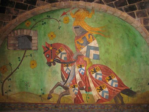 knight, horse, medieval times, mural, castello di amorosa, calistoga, california