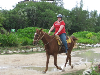 Nancy Brown on a horseback riding vacation in Cancun, Mexico