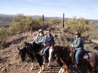 Girlfriends Trisha, Rebecca, Nancy on a Horseback Riding Vacation at the Kay El  Bar Ranch