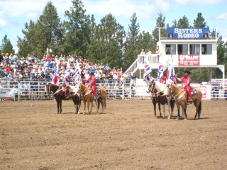 Rodeo Queens on a horseback riding vacation, Sisters, Oregon