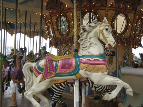 A Horseback Riding Vacation at the Nut Tree Plaza in Vacaville, California on a Palomino Carousel Horse
