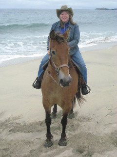 Nancy and Thelma on a horseback riding vacation at Sea Horse Ranch in Half Moon Bay, California