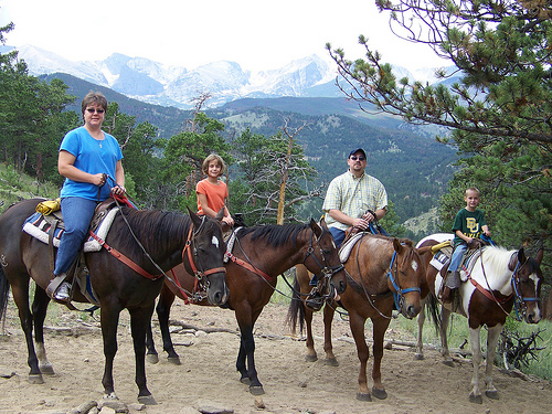 The Page Family on a Colorado horseback riding vacation in Estes Park