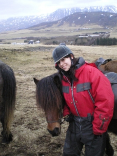 Katie Hammel in a horseback riding vacation in Reykjavik, Iceland