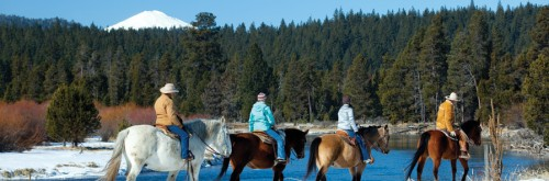 Small group rides make ideal horseback riding vacation experience such as this on at Sunriver Stables