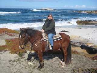 Nancy Brown on a horseback riding vacation in Pebble Beach, California