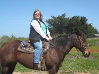 Nancy riding Missy on this Morro Bay Beach Horseback Riding Vacation