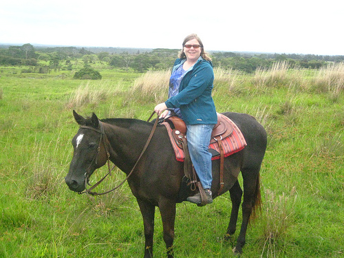 Travel Writer Nancy D. Brown on a Hawaiian horseback riding vacation at Paani Ranch