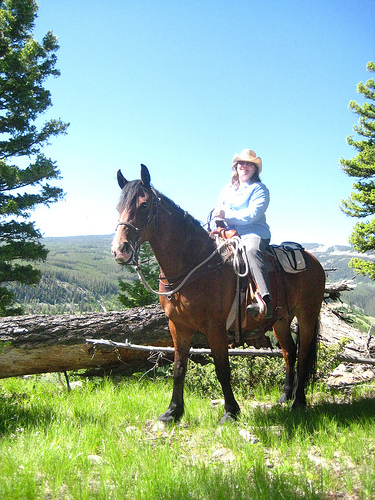 Travel Writer Nancy D. Brown on a horseback riding holiday at the Club at Spanish Peaks in Big Sky, Montana