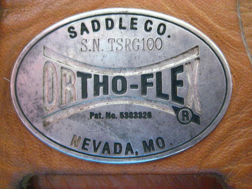 Saddle tag shows this western saddle was made from the ORIGINAL  Nevada, MO Ortho-Flex Saddle Company