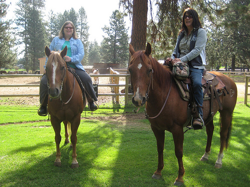 Nancy Brown and Debi Smith of Seventh Mountain Resort Stables on a horseback riding vacation in Central Oregon