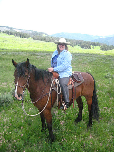 Travel Writer Nancy D. Brown on a horseback riding vacation with Club at Spanish Peaks in Big Sky, Montana