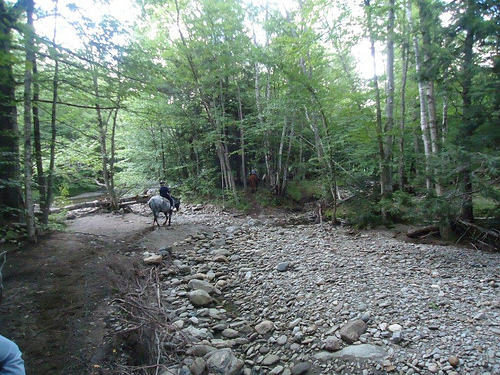 River crossing on a horseback riding vacation in Stowe, Vermont