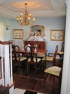 Enchanted April dining room