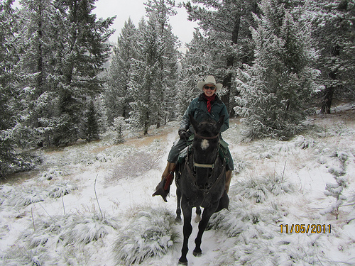 Triple Creek Ranch Owner Barbara Barrett on Klicks for Chicks Horseback Ride