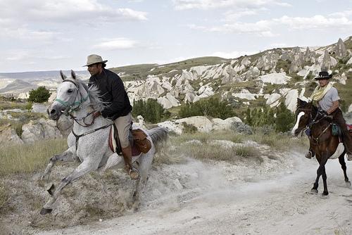 Relief Rider Director Alexander Souri horseback riding in Cappadocia, Turkey