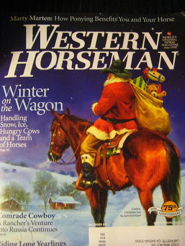"""Equestrian magazines to plan your next horseback riding vacation. This Western Horseman magazine cover """"Cowboy Christmas Eve"""" by Jack Sorenson"""