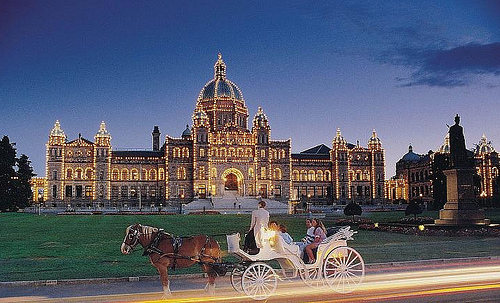 A trip to Victoria, BC, Canada is not your typical horseback riding vacation. Take a romantic horse and carriage ride at sunset.