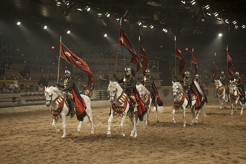 Medieval Knights go on horseback riding vacation at Buena Park in California