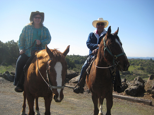 Nancy Brown and Rafael Hernandez of Wine Country Trail Rides go on a horseback riding vacation at Chalk Hill in Healdsburg, California