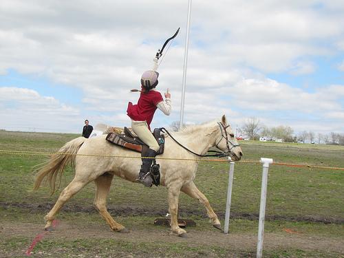 """Annibella Beggs on horseback"""