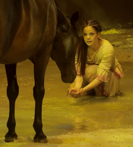 Jennifer Lecuyer performs 'The Discovery' with Orion during Cavalia. Cavalia's horse training techniques are based on mutual respect, kindness, patience and trust