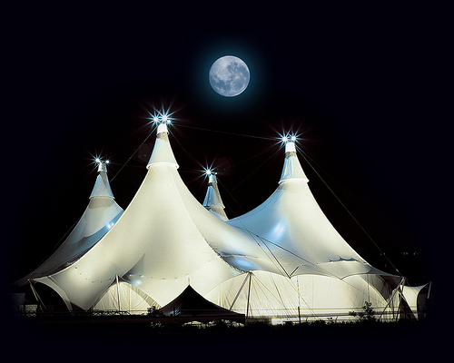 Standing 110 feet tall the Cavalia White Big Top is not your typical horse stable