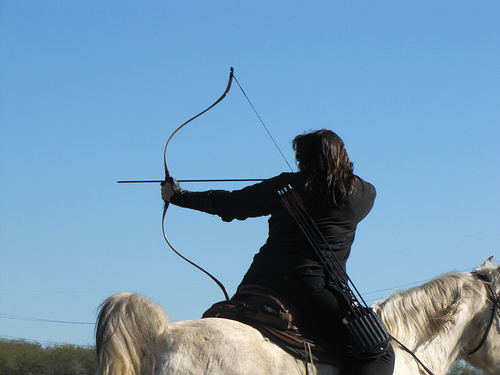 Horseback Archery Academy student takes aim.
