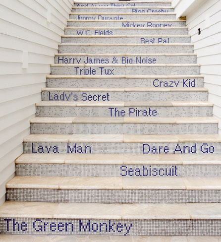 Hotel Indigo Stairway to Greatness features the names of legendary race horses