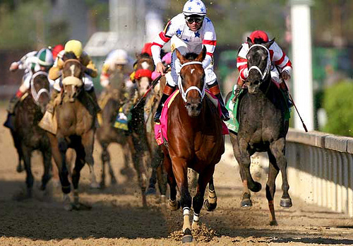 Kent Desormeaux, riding #20 Big Brown, crosses the finish line to win the 134th running of the Kentucky Derby on May 3, 2008 at Churchill Downs in Louisville, Kentucky