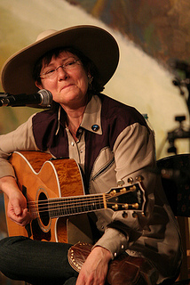 Singer and guitarist Denise Withnell performs at National Cowboy Gathering