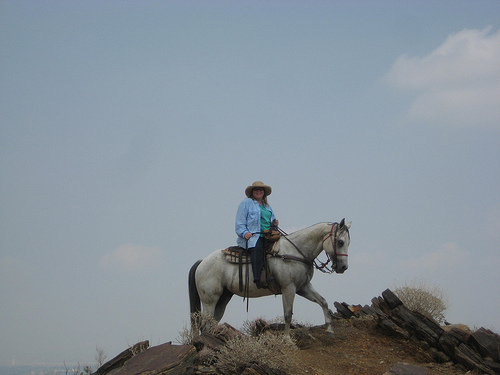 Travel Writer Nancy D. Brown and Pete on a horseback riding vacation with Smoke Tree Stables in Palm Springs