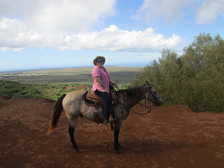 Nancy D. Brown, horseback riding in Lanai
