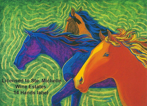 """Wild Horses"" wine label art"