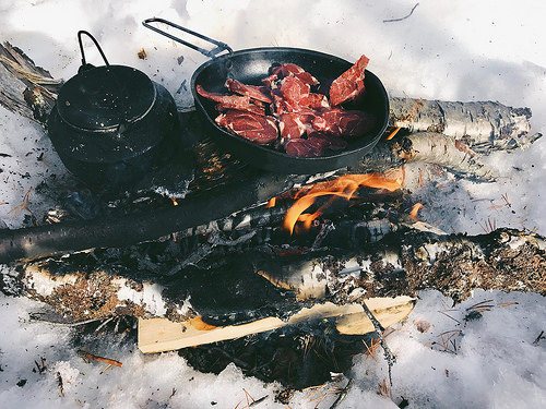 reindeer meat, lunch, campfire, sami culture, lapland, sweden